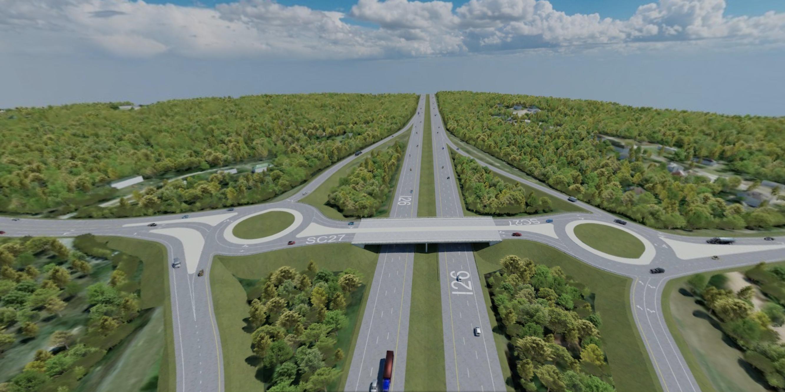 SCDOT I-26 Reconfiguration - Diamond Interchange with Roundabouts | RDV Systems